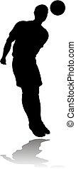 joueur, football, football, silhouette