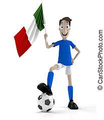 joueur, football, italien