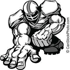 joueur, football, ouvrier ligne, dessin animé