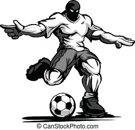 joueur, football, polir, balle, donner coup pied