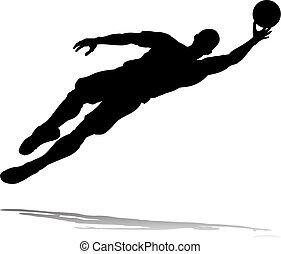 joueur, football, silhouette, football