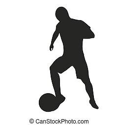 joueur, football,  silhouette