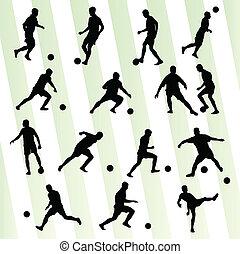 joueur football, silhouette, vecteur, fond, ensemble