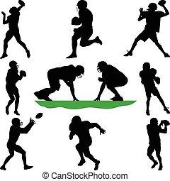 joueur football, silhouette, vecteur