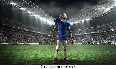 joueur, football, tenir boule, américain