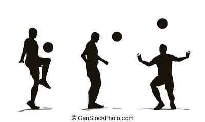 joueur, football, trois, balle
