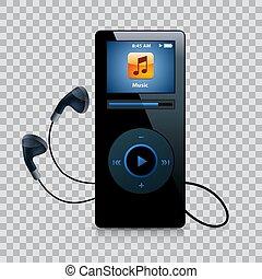 joueur, gadget, moderne, musique, écouteurs