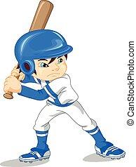 joueur, garçon, base-ball, mignon