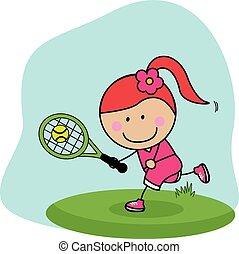 joueur, girl, badminton