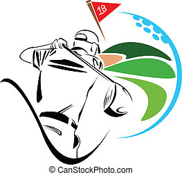 joueur, golf, illustration