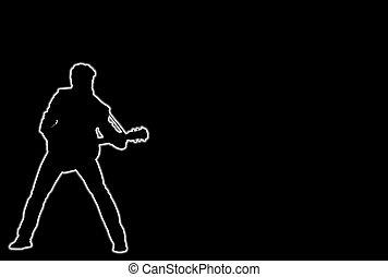 joueur guitare, incandescent