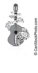 joueur guitare, notes, musique