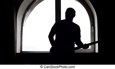joueur guitare, silhouette, basse