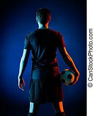joueur, homme, isolé, football