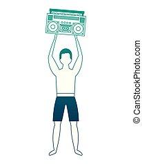 joueur, homme, musique, retro, maillot de bain