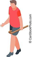 joueur, homme, style, icône, isométrique, lancer