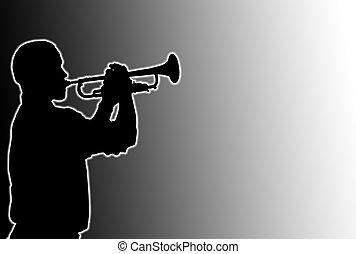 joueur, incandescent, trompette