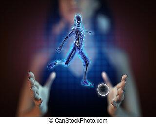 joueur, jeu, football, hologramme