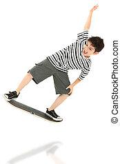 joueur, jeu vidéo, skateboard, enfant
