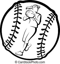 joueur, lancement, softball