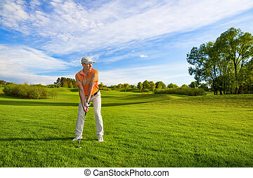 joueur, mâle, golf
