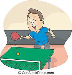 joueur, mâle, tennis, table