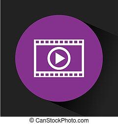 joueur, média, vidéo, icône