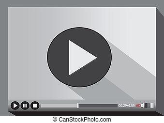 joueur, média, vidéo, toile