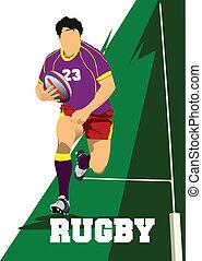 joueur, malade, vecteur, rugby, silhouette.
