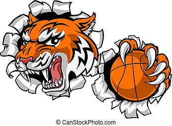 joueur, mascotte, sports, tigre, animal, baketball