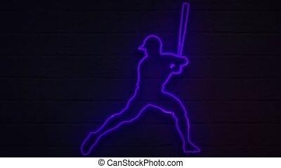 joueur, néon, arrière-plan., couverture, décoration, mur, réaliste, base-ball