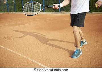 joueur, ombre, court tennis