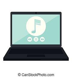 joueur, ordinateur portable, musique
