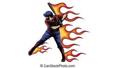 joueur, ouate, base-ball, américain, style, dessin animé