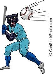 joueur, panthère, mascotte, oscillation, batte base-ball