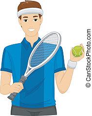 joueur, pelouse, tennis