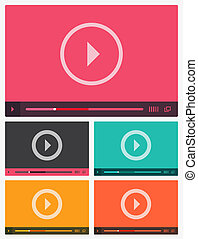 joueur, plat, moderne, vidéo, interface.