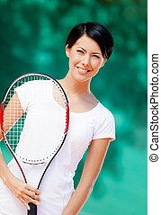 joueur, professionnel, tennis, portrait
