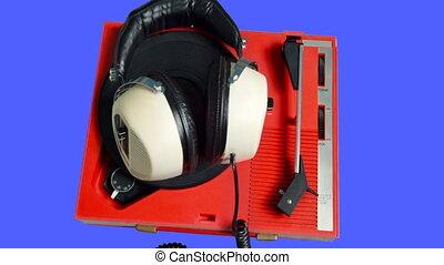 joueur, rotation, écouteurs, retro, enregistrement