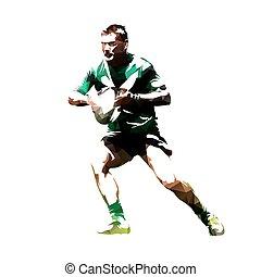 joueur rugby, à, balle, résumé, polygonal, vecteur, silhouette, vue frontale