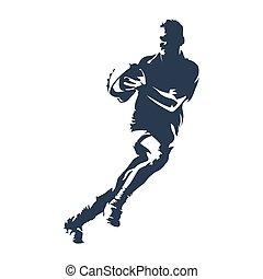 joueur rugby, à, balle, résumé, vecteur, silhouette
