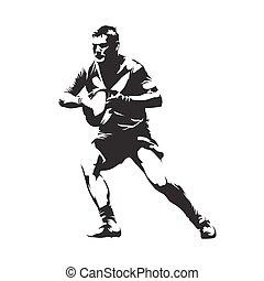 joueur rugby, à, balle, résumé, vecteur, silhouette, vue frontale