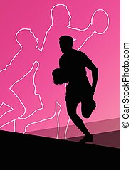 joueur rugby, actif, jeunes hommes, sport