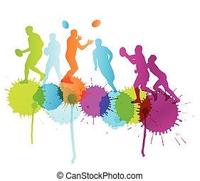 joueur rugby, actif, sport, vecteur, fond, concept, à, couleur, eclabousse