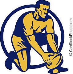joueur rugby, agenouillement, préparer, a, but, coup de pied, isolé, blanc
