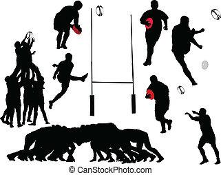 joueur rugby, collection, -, vecteur