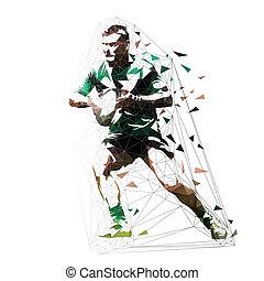 joueur rugby, courant, à, balle, bas, polygona, vecteur, illustration, vue frontale
