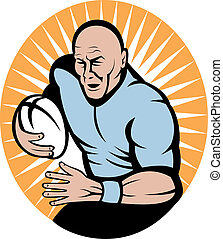joueur rugby, courant, à, balle