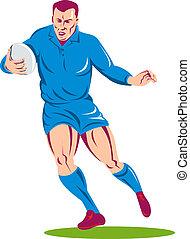joueur rugby, courant, à, balle, mettez-vous