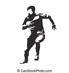joueur rugby, courant, à, balle, résumé, vecteur, silhouette, vue frontale